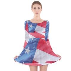 Folded American Flag Long Sleeve Velvet Skater Dress