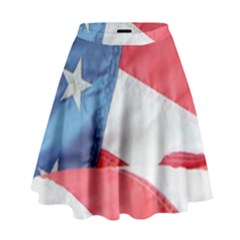 Folded American Flag High Waist Skirt