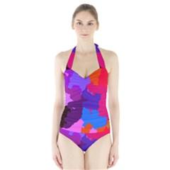Spots                     Women s Halter One Piece Swimsuit