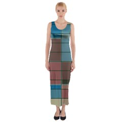 Rectangles in retro colors pattern                      Fitted Maxi Dress