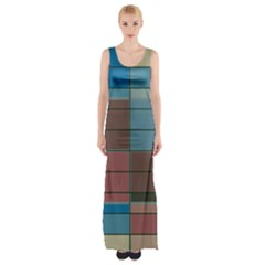 Rectangles In Retro Colors Pattern                      Maxi Thigh Split Dress