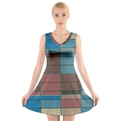 Rectangles In Retro Colors Pattern                  V Neck Sleeveless Dress