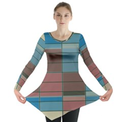 Rectangles in retro colors pattern                      Long Sleeve Tunic
