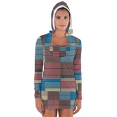 Rectangles in retro colors pattern                      Women s Long Sleeve Hooded T-shirt