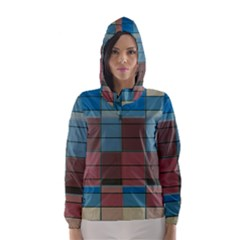 Rectangles In Retro Colors Pattern                      Hooded Wind Breaker (women)