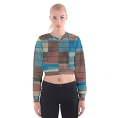 Rectangles In Retro Colors Pattern                        Women s Cropped Sweatshirt
