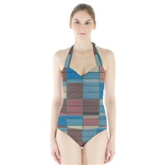 Rectangles In Retro Colors Pattern                      Women s Halter One Piece Swimsuit
