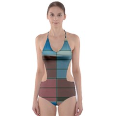 Rectangles in retro colors pattern                      Cut-Out One Piece Swimsuit
