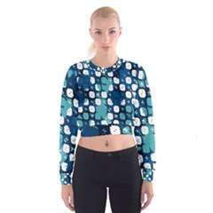 Blue texture                         Women s Cropped Sweatshirt