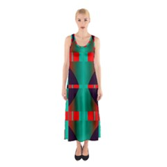 Vertical Stripes And Other Shapes                        Full Print Maxi Dress