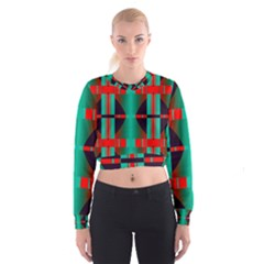 Vertical Stripes And Other Shapes                          Women s Cropped Sweatshirt