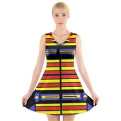 Flair One V Neck Sleeveless Skater Dress