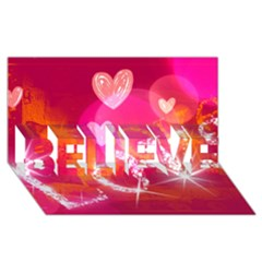 Love Believe 3d Greeting Card (8x4)