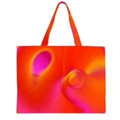 Orange Cream Zipper Large Tote Bag