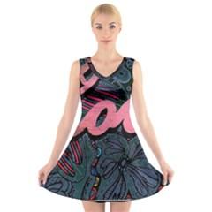 Love! V-Neck Sleeveless Skater Dress