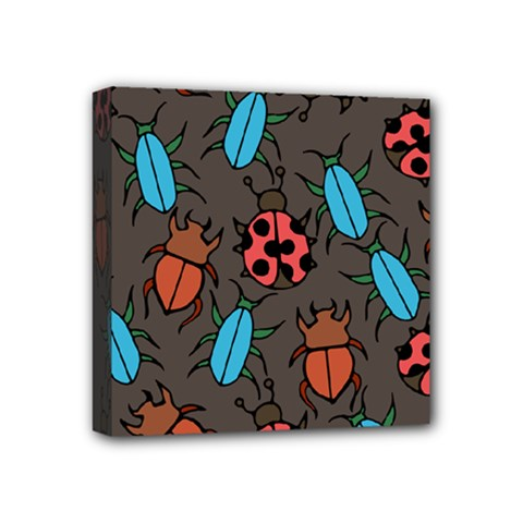 Beetles And Ladybug Pattern Bug Lover  Mini Canvas 4  X 4