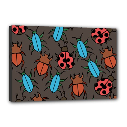 Beetles And Ladybug Pattern Bug Lover  Canvas 18  x 12