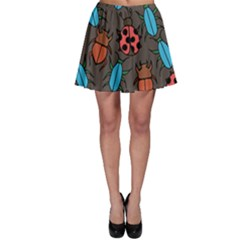Beetles And Ladybug Pattern Bug Lover  Skater Skirt