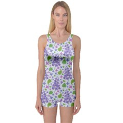 liliac flowers and leaves Pattern One Piece Boyleg Swimsuit