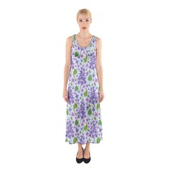 Liliac Flowers And Leaves Pattern Sleeveless Maxi Dress