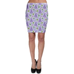 liliac flowers and leaves Pattern Bodycon Skirts
