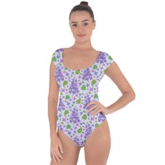liliac flowers and leaves Pattern Short Sleeve Leotard (Ladies)