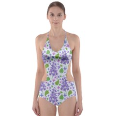 liliac flowers and leaves Pattern Cut-Out One Piece Swimsuit