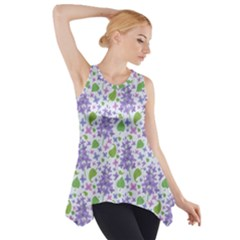 liliac flowers and leaves Pattern Side Drop Tank Tunic
