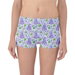 liliac flowers and leaves Pattern Reversible Boyleg Bikini Bottoms