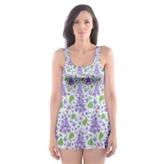 Liliac Flowers And Leaves Pattern Skater Dress Swimsuit