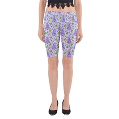liliac flowers and leaves Pattern Yoga Cropped Leggings