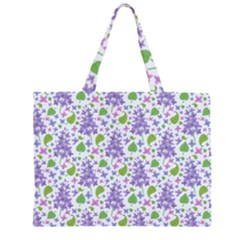 liliac flowers and leaves Pattern Large Tote Bag