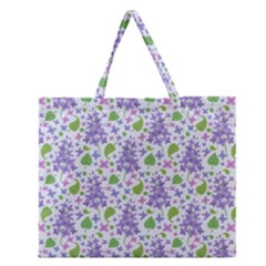 liliac flowers and leaves Pattern Zipper Large Tote Bag