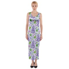 Liliac Flowers And Leaves Pattern Fitted Maxi Dress