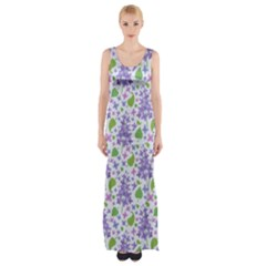 liliac flowers and leaves Pattern Maxi Thigh Split Dress