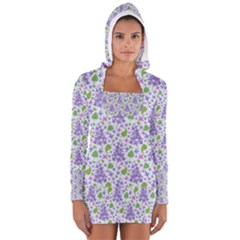 Liliac Flowers And Leaves Pattern Women s Long Sleeve Hooded T Shirt