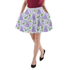 Liliac Flowers And Leaves Pattern A Line Pocket Skirt