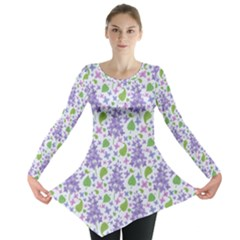 Liliac Flowers And Leaves Pattern Long Sleeve Tunic