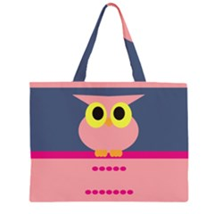 Cute Whimsical Pink Owl Large Tote Bag