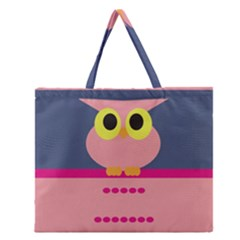 Cute Whimsical Pink Owl Zipper Large Tote Bag