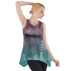 Bicycles Pink Green Side Drop Tank Tunic