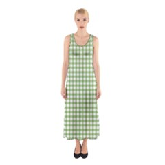 Avocado Green Gingham Classic Traditional Pattern Sleeveless Maxi Dress