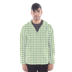 Avocado Green Gingham Classic Traditional Pattern Hooded Wind Breaker (men)