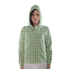 Avocado Green Gingham Classic Traditional Pattern Hooded Wind Breaker (women)