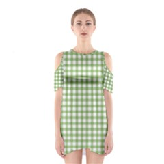 Avocado Green Gingham Classic Traditional Pattern Cutout Shoulder Dress