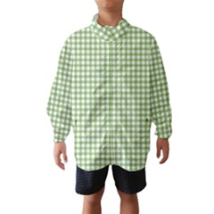Avocado Green Gingham Classic Traditional Pattern Wind Breaker (Kids)