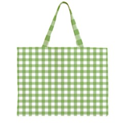 Avocado Green Gingham Classic Traditional Pattern Large Tote Bag