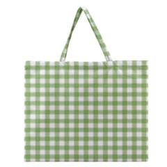 Avocado Green Gingham Classic Traditional Pattern Zipper Large Tote Bag