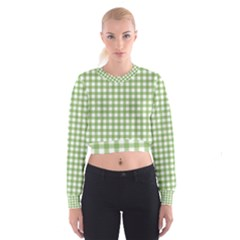 Avocado Green Gingham Classic Traditional Pattern Women s Cropped Sweatshirt