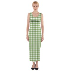 Avocado Green Gingham Classic Traditional Pattern Fitted Maxi Dress